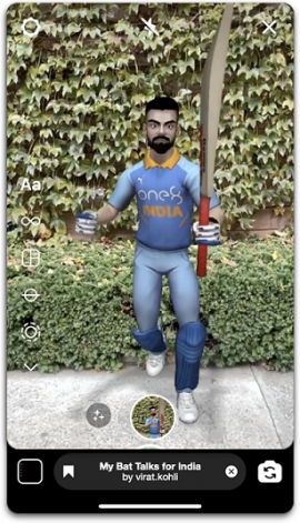 Virat Kohli comes to Facebook and Instagram in Augmented Reality