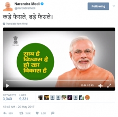 1.1 million conversations on Twitter for Modi Government's 3rd anniversary