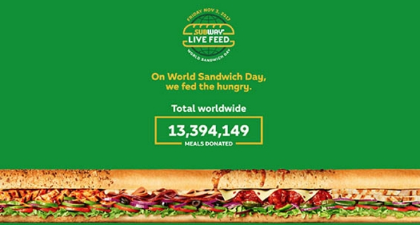 Subway® gives away 13 million+ meals to hunger-relief charities